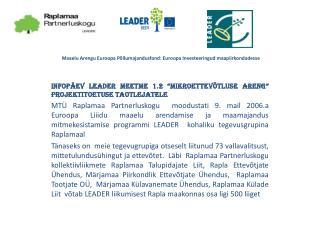 Maaelu Arengu Euroopa Põllumajandusfond: Euroopa Investeeringud maapiirkondadesse