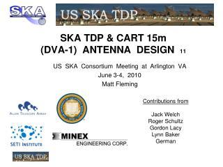 SKA TDP & CART 15m (DVA-1)  ANTENNA  DESIGN   11