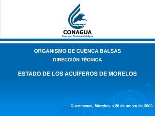 ORGANISMO DE CUENCA BALSAS DIRECCIÓN TÉCNICA ESTADO DE LOS ACUÍFEROS DE MORELOS