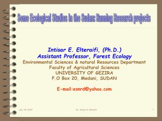 Some Ecological Studies In the Sudan: Running Research projects