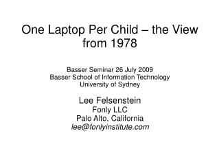 One Laptop Per Child – the View from 1978