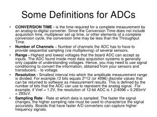 Some Definitions for ADCs