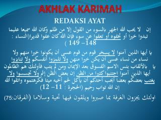 AKHLAK KARIMAH