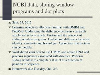 NCBI data, sliding window programs and dot plots