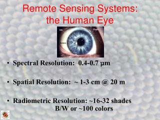Remote Sensing Systems: the Human Eye