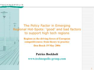 Regions as the driving forces of European competitiveness: from theory to practice