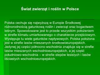 Świat zwierząt i roślin w Polsce