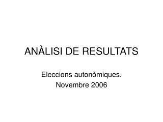 AN�LISI DE RESULTATS