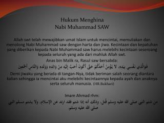 Hukum Menghina Nabi  Muhammad SAW