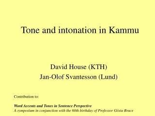 Tone and intonation in Kammu