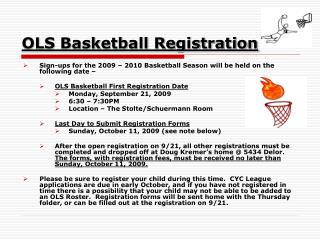 OLS Basketball Registration