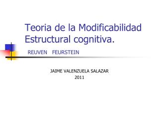 Teoria de la Modificabilidad Estructural cognitiva. REUVEN   FEURSTEIN
