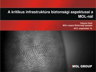 A kritikus infrastruktúra biztonsági aspektusai a MOL-nál