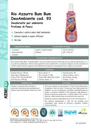 Rio Azzurro Bum Bum DeoAmbiente cod. 93 Deodorante per ambiente Profumo di Pesco