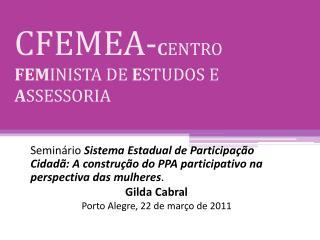 CFEMEA- C ENTRO  FEM INISTA DE  E STUDOS E  A SSESSORIA