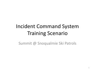 Incident Command System Training Scenario