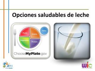 Opciones saludables  de  leche