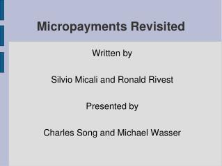 Micropayments Revisited