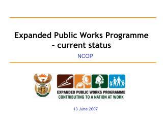 Expanded Public Works Programme – current status