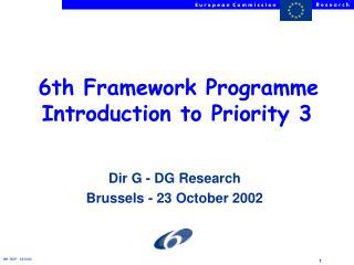 Dir G - DG Research Brussels - 23 October 2002