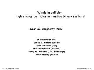 Winds in collision:  high energy particles in massive binary systems