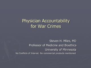 Physician Accountability  for War Crimes
