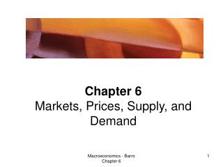 Chapter 6 Markets, Prices, Supply, and Demand