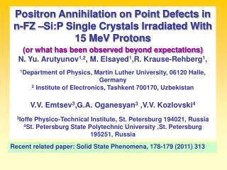 Recent related paper: Solid State Phenomena, 178-179 (2011) 313