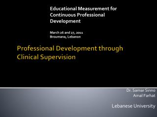 Professional Development through Clinical Supervision