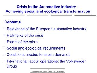 Crisis in the Automotive Industry – Achieving social and ecological transformation