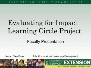 Evaluating for Impact Learning Circle Project