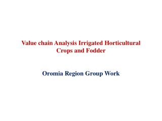 Value chain Analysis  Irrigated Horticultural Crops and Fodder