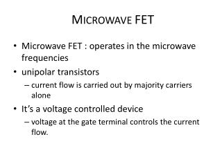M ICROWAVE  FET