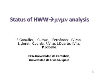 Status of HWW  mnmn  analysis