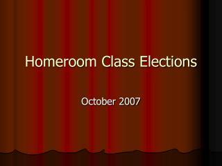 Homeroom Class Elections