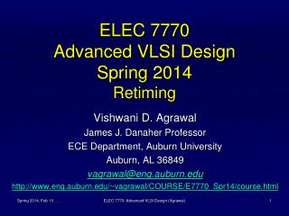 ELEC 7770 Advanced VLSI Design Spring 2014 Retiming