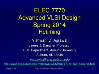 ELEC 7770 Advanced VLSI Design Spring 2014 Retiming