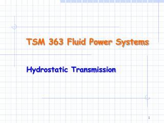 TSM 363 Fluid Power Systems