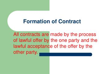 Formation of Contract