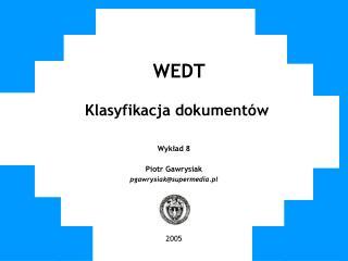 WEDT Klasyfikacja dokumentów