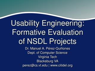 Usability Engineering: Formative Evaluation of NSDL Projects