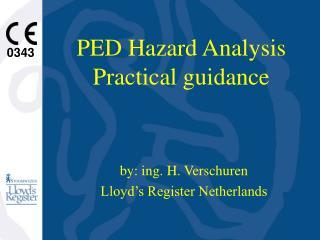 PED Hazard Analysis Practical guidance
