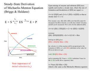 Steady-State Derivation  of Michaelis-Menton Equation  (Briggs & Haldane)