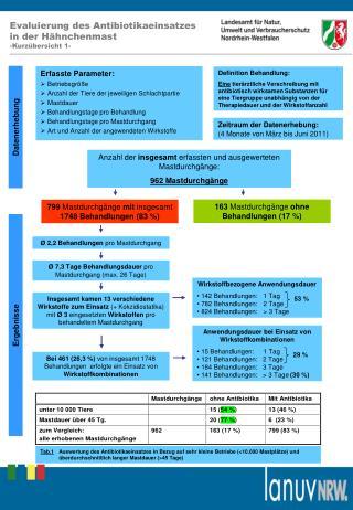 Evaluierung des Antibiotikaeinsatzes  in der H hnchenmast -Kurz bersicht 1-