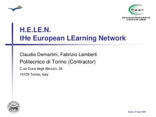 H.E.LE.N.  tHe European LEarning Network