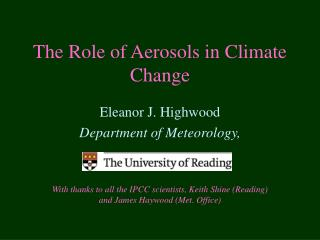 The Role of Aerosols in Climate Change