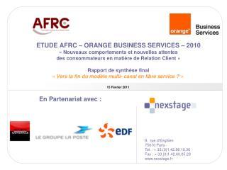 ETUDE AFRC   ORANGE BUSINESS SERVICES   2010   Nouveaux comportements et nouvelles attentes  des consommateurs en mati r