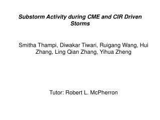 Substorm Activity during CME and CIR Driven Storms