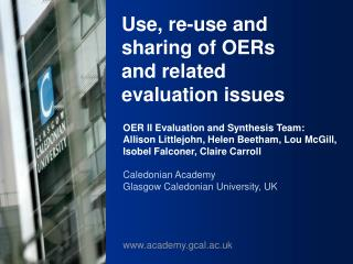 Use, re-use and sharing of OERs and related evaluation issues