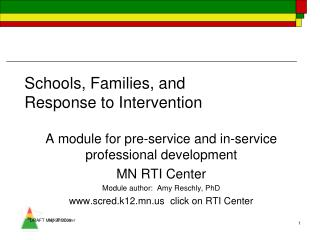 Schools, Families, and  Response to Intervention
